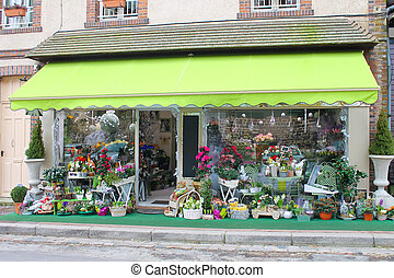 Flower shop in Verneuil-sur-Avre. France
