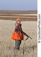 Pheasant Hunting - Boy out pheasant hunting