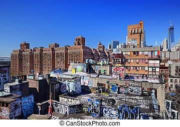 Graffiti in New York City - Gritty rooftops in the Lower...
