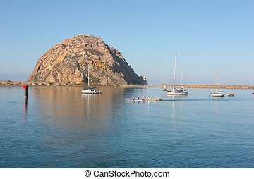 Morro Bay - Morro Rock - big granite rock in Morro Bay,...