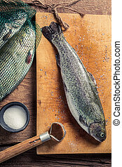 Preparing freshly caught trout