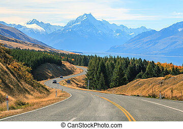 Mountain Cook NewZealand - Road stretching out to Mountain...