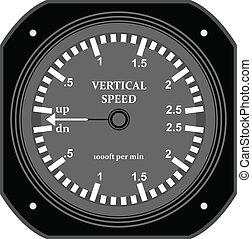 Flight instrument. - A flight vertical speed indicator.