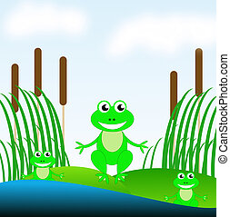 three amusing green frogs on a green grass in a pond, raster...