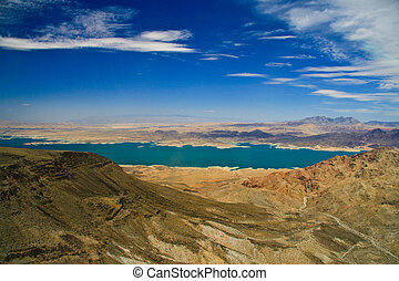 Lake Mead surrounded by rocks, Colorado River, Las Vegas,...