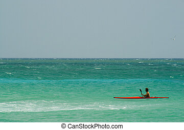 Kayaking - Man kayaking in the Atlantic Ocean, Miami Beach,...