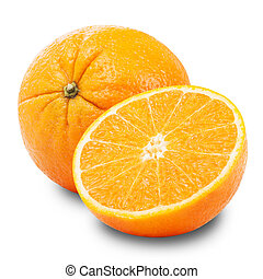 orange - Whole orange fruit and his segments or cantles...
