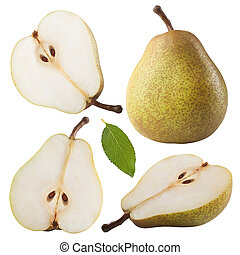 pears - Ripe pears isolated on white background Clipping...