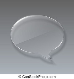Glass bubble speech on gray background