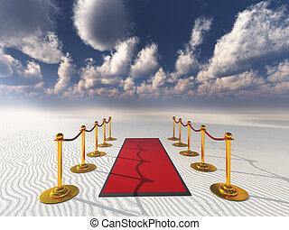 red carpet in desert sands