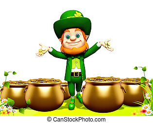 Leprechaun for st patrick day - 3d rendered illustration of...