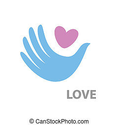 love - heart and a dove. Pigeon-hand. Vector idea