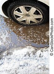 poor road conditions - poor road condotions - car wheel in...
