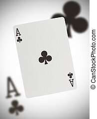 Playing card, ace - Playing card with a blurry background,...