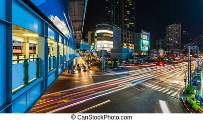 CITY STREET TRAFFIC AT NIGHT - Bangkok at night, Thailand