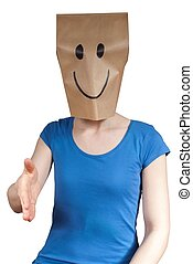 happy person handshaking - a happy paper bag person inviting...