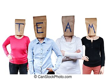 people buldinga team - four people with paper bag heads on...