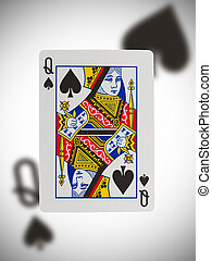 Playing card, queen - Playing card with a blurry background,...