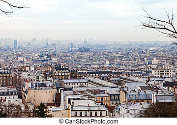 skyline of Paris city from Montmartre hill, France