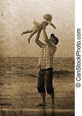 father with daughter on vacation at sea Photo in old image...