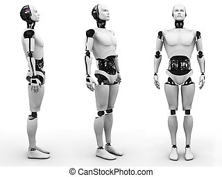 Male robot standing, three different angles. - Male robot...