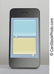 Mobile phone with text message speech bubble - Mobile phone...