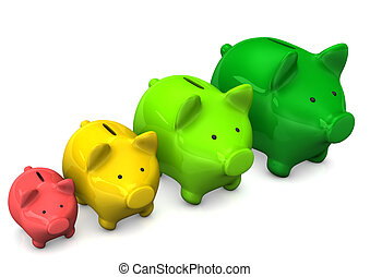 Piggy Bank Chart - Colorful piggy banks on the white...
