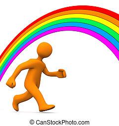 Rainbow Run Away - Orange cartoon character runs away from...