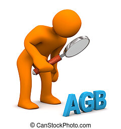 Männchen Lupe AGB - Orange Männchen scannt mit einer Lupe...