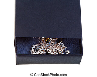 open black gift box with golden chainlet isolated on white...