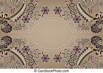 paisley pattern with wavy oval frame
