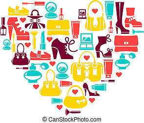 Shopping love - heart with set of vector fashion...