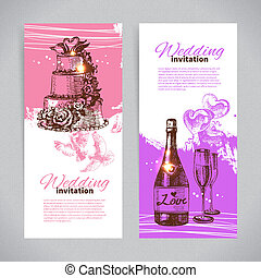 Wedding invitations Banner set of vintage hand drawn wedding...