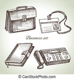 Business set. Hand drawn illustrations