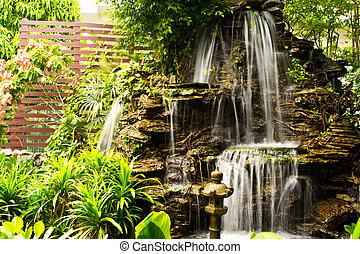 bonito, Cachoeira, jardim