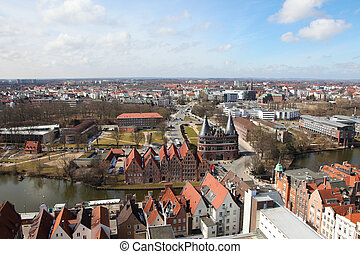 Lubeck - Panorama on Lubeck old town, Schleswig-Holstein,...