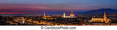 panoramic view of Florence after sunset - city landscape at...