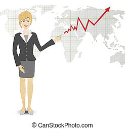 Business Woman papercraft  of a graph showing