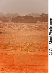 A sand storm  in the desert
