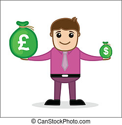 Businessman Presenting Currency - Earning - Office and...