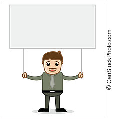 Businessman with Blank Ad Banner - Man Holding a Banner -...