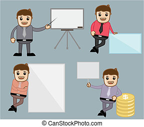 Cartoon Businessman with Banners - Various Poses - Office...