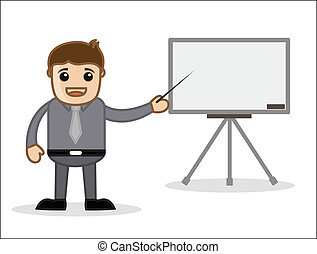 Office Man with Blank Board