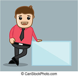 Businessman with Ad Banner - With Banner - Office and...