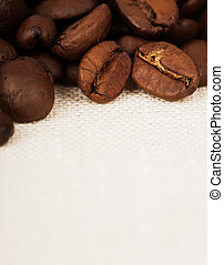 Coffee on fabric background