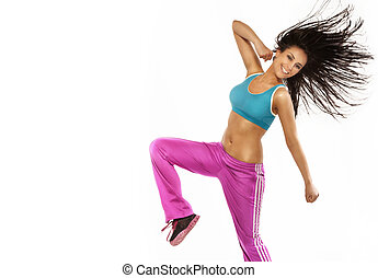 Happy fitness woman jumping, perfect body. - Young brunette...