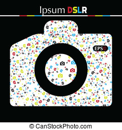 DSLR photo cameras seamless pattern