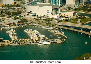 American Airlines Arena at the waterfront - Aerial view of...