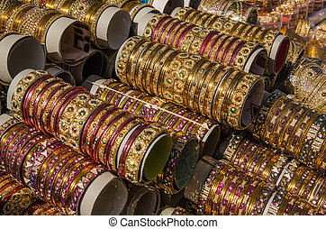 Glass bangles, Hyderabad - Stacks of traditional glass...
