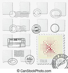 blank stamp irregular frames with postmarks